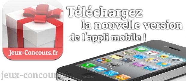 Nouvelle version 1.1 de l'application mobile jeux-concours.fr